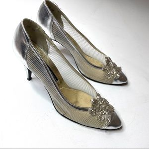 Vintage Stuart Weitzman Mesh Glass Beaded 8.5